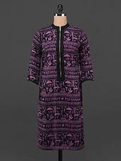 Purple & Black Warli Printed Front Zip Kurta - DeDe'S