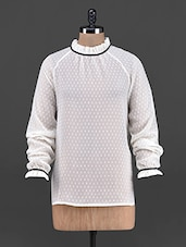 Ruffled Neck Raglan Sleeve Georgette Top - OSHEA