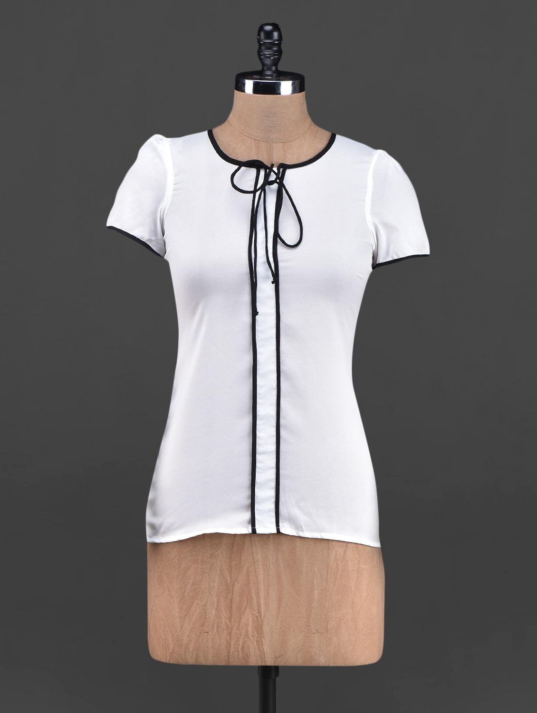 Round Neck Short Sleeve Georgette Top - OSHEA