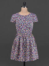 Floral Print Round Neck Short Sleeve Dress - OSHEA