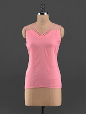 Sleeveless Solid Coral Color Top - Guster Ve..