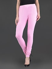 Solid Baby Pink Cotton Streachable Leggings - Guster Ve..