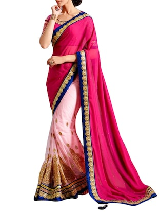pink and white georgette net saree