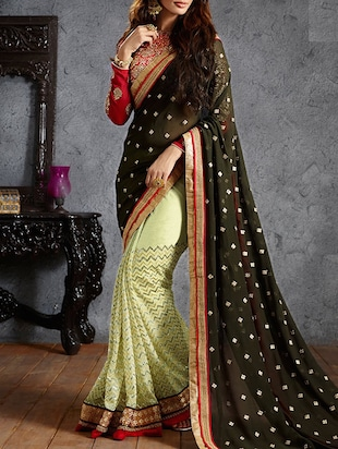 black and beige georgette saree
