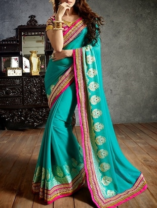 Blue Georgette Embellished Saree