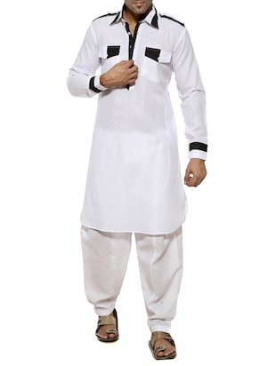 white cotton ethnic wear set -  online shopping for ethnic wear sets