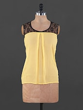 Yellow Georgette Top With Black Lace - By