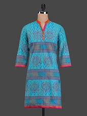 Printed Light Blue Cotton Kurta - RIYA