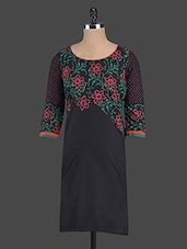 Black Floral Printed Cotton Kurta - RIYA