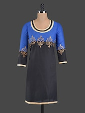 Printed Black And Blue Cotton Kurta - RIYA