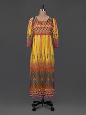 Graphic Printed Round Neck Long Kurta - Libas