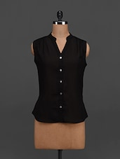 Black Sleeveless Georgette Top - Tapyti