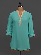 Aqua Blue Button-up Sleeves Georgette Top - Tapyti
