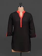 Black Button-up Sleeves Georgette Top - Tapyti
