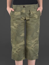 Olive Printed Knee-length Cotton Pants - London Bee