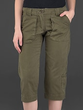 Solid Olive Knee-length Cotton Pants - London Bee