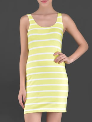 Lemon yellow striped cotton sleeveless tunic