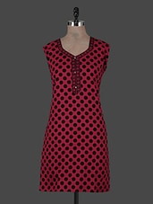 Red Polka Dots Printed Cotton Kurta - CRAZORA