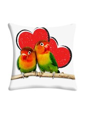 Heart Parrots Digitally Printed Cushion Cover - Mesleep