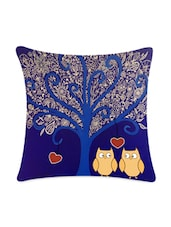 Ethnic Tree With Owl Pair Satin Cushion Cover - Mesleep
