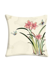 Floral With Butterfly Printed Cushion Cover - Mesleep