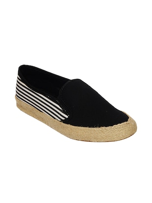 black canvas slip on espadrilles