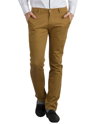 solid brown cotton casual trouser