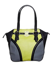 Lime And Grey Pure Leather Shoulder Bag - Phive Rivers