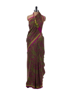 Mauve and Olive Green Paisley Motif Saree with Colour Blocked Pallu - Saboo