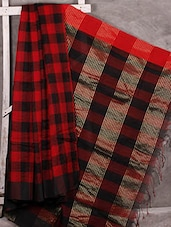 Woven Checks Silk Saree - BDesi Saree
