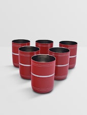 Red Stainless Steel Glass Set Of 6 Pieces - By