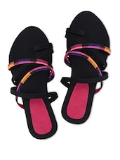 Multi Pattern Criss Cross Strap Black Sandals - Z Collection
