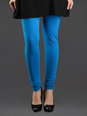 Elastic Waist Blue Cotton Leggings - Lady In Red