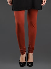 Rust Elastic Waist Cotton Leggings - Lady In Red