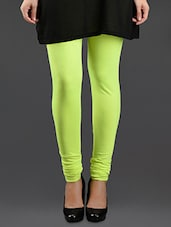 Neon Green Elastic Waist Cotton Leggings - Lady In Red