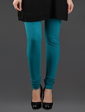 Blue Elastic Waist Cotton Leggings - Lady In Red
