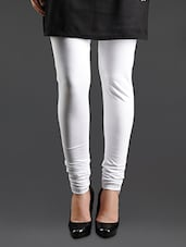 White Elastic Waist Cotton Leggings - Lady In Red