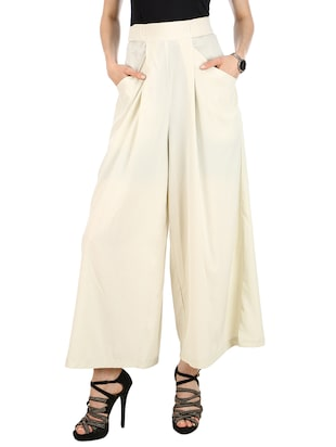 off white polyester palazzos -  online shopping for Palazzos