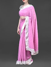 Solid Pink Jacquard Weave Art Silk Saree - Bhavi