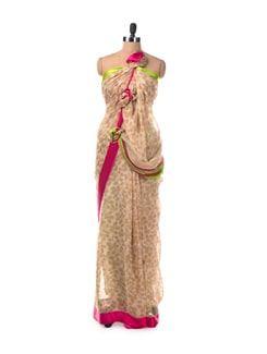 All Over Print Saree With Pink And Green Satin Border - Saboo