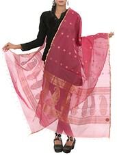 Pink Banarasi Silk Hand Woven Dupatta - By