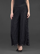 Solid Black Lace Palazzos - FASHION PLANET