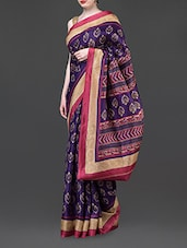 Block Printed Blue Silk Blend Saree - Parmar Design