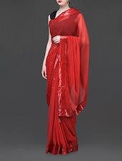 Sequined Border Solid Red Hot Saree - Parmar Design