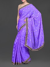 Purple Silk Crepe Embellished Saree - Jindal Saree
