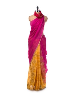 Pink and Yellow Georgette saree with Zari Border - Saboo