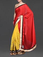 Red And Yellow Saree With Gold Border - Jindal Saree