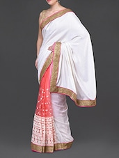 Pristine White Saree With Gold Border - Jindal Saree