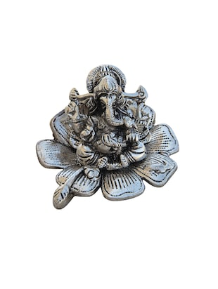 Metal Ganesha Sitting on Leaf