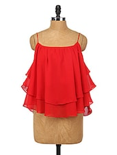 Red Ruffle Layered Polyester Top - Change360��